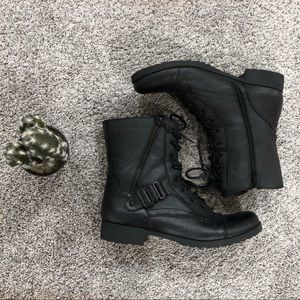 G by Guess Black Combat Boots Zip Up with Buckle